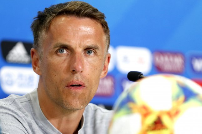 England manager Phil Neville was hired in January 2018. Neville enjoyed a decorated playing career for Manchester United (1994 to 2005) and Everton (2005 to 2013). Photo by Sebastien Nogier/EPA-EFE