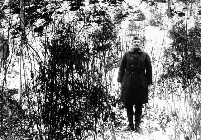Medal of Honor recipient Sgt. Alvin C. York of the 328th Infantry is pictured on Feb. 7, 1919 on the hill in the Argonne Forest, near Cornay, France where his great raid took place. On Oct. 8, 1918, lead an attack killing 20 German soldiers, and capturing 132 others. File Photo by U.S. Army/UPI