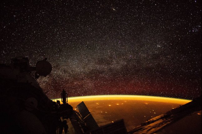 The orange hue over Earth, called an airglow and caused by molecules in the atmosphere energized by ultraviolet radiation from sunlight, was caught on camera by an astronaut aboard the International Space Station in 2018. Photo by ISS/Nasreen Alkhateeb/NASA