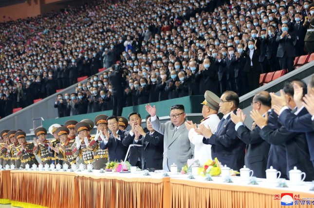 Kim Jong Un (C), attends a mass gymnastics performance in Pyongyang's May Day Stadium on October 12. File Photo by KCNA/EPA-EFE