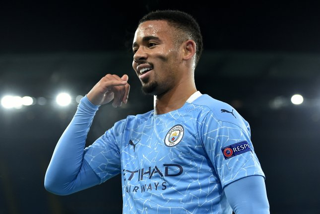 Brazilian striker Gabriel Jesus scored Manchester City's second goal in a win over Olympiakos in the Champions League on Tuesday in Manchester, England. Photo by Peter Powell/EPA-EFE