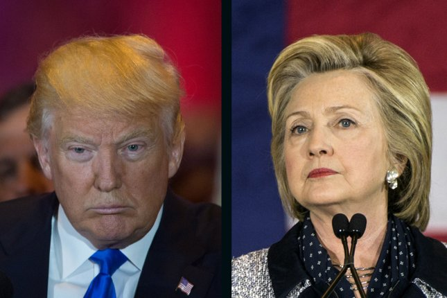 Hillary Clinton holds a 2.8-percentage point lead over Donald Trump as of Thursday's release. UPI file