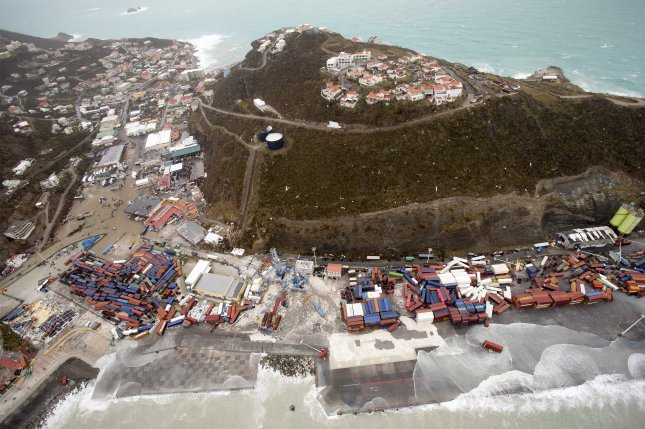 Hurricane Irma, a Category 5 storm, heavily damaged Philipsburg, Sint Maarten, on Wednesday. Photo by the Dutch Department of Defense/EPA