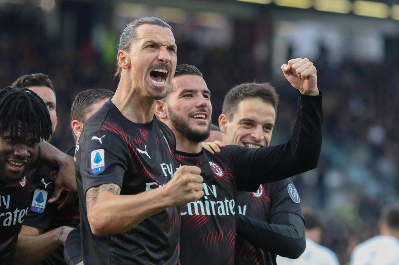AC Milan's Zlatan Ibrahimovic's last goal for the club came in 2012, before he found the net again Saturday in Cagliari, Italy. Photo by Fabio Murru/EPA-EFE/FABIO MURRU