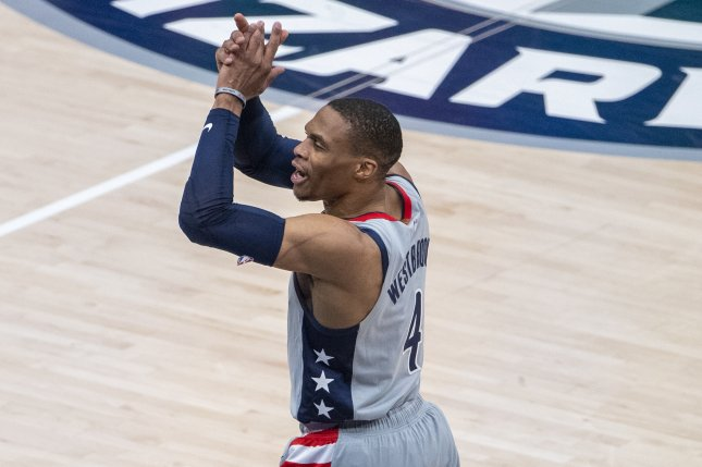 Washington Wizards guard Russell Westbrook recorded a triple-double in a Game 4 playoff win over the Philadelphia 76ers on Monday in Washington, D.C. Photo by Shawn Thew/EPA-EFE