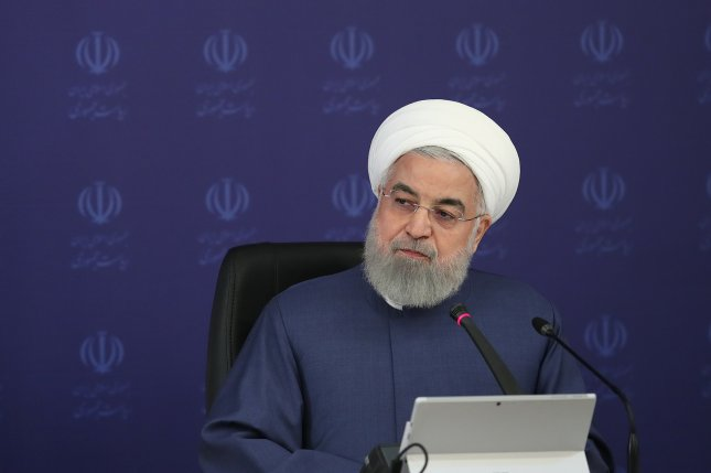 In this April photo, Iranian President Hassan Rouhani speaks during a cabinet meeting in Tehran. Photo via EPA-EFE