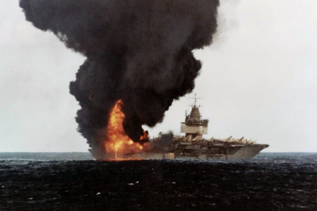 On January 14, 1969, a series of explosions aboard the nuclear aircraft carrier USS Enterprise off Hawaii killed 27 men. File Photo courtesy of the U.S. Navy