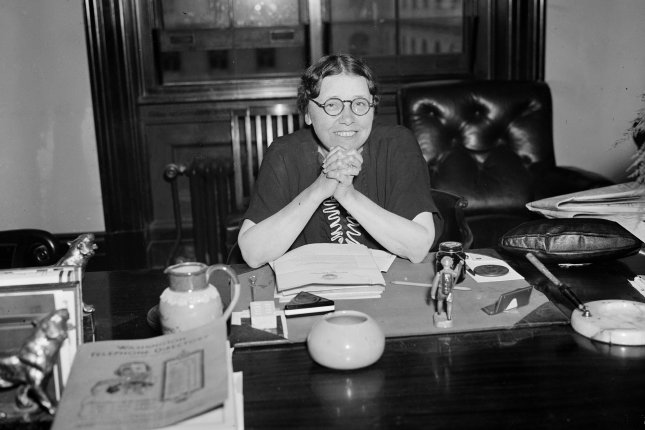 On January 12, 1932, Hattie Caraway, D-Ark., pictured in 1936, became the first woman elected to serve a full term as a United States senator. File Photo by Library of Congress/UPI