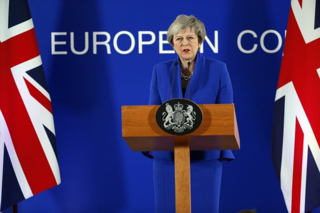 British Prime Minister Theresa May speaks to the media at the end of European Council in Brussels, Belgium, on Nov. 25 after the leaders of the 27 remaining EU member countries endorsed the draft Brexit withdrawal agreement. On Sunday, May said the Parliament will enter uncharted waters if they don't approve the deal. Photo by Julien Warnand/EPA