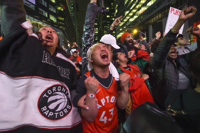 Toronto Raptors fans celebrate after the Raptors defeated the defending NBA Champions Golden State Warriors to win their first NBA Championship, in Toronto on June 13, 2019. Photo by Warren Toda/EPA-EFE