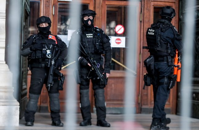 Security was on alert at the Brussels Palace of Justice during the sentencing Monday of Mehdi Nemmouche, the man convicted last week of killing four people at the Jewish Museum of Belgium in 2014. Photo by Stephanie Lecocq/EPA-EFE