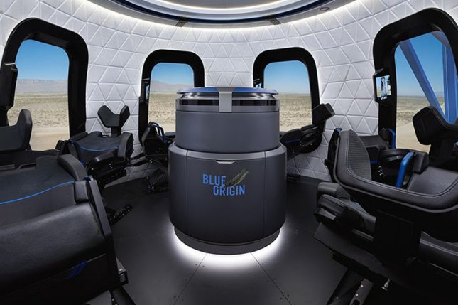 Blue Origin launched the New Shepard rocket Thursday from Texas with upgraded passenger experience technology inside the capsule. Photo courtesy of Blue Origin