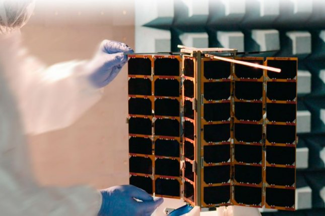 A Lemur-2 satellite built by California-based Spire Global is shown in processing by the European Space Agency during a recent mission. Photo courtesy of European Space Agency
