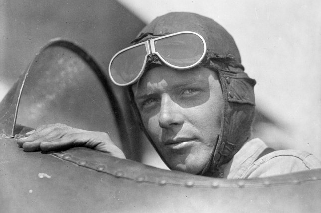 Aviator Charles Lindbergh, wearing a helmet and goggles, is pictured in the open cockpit of airplane at Lambert Field in St. Louis in the 1920s. He's perhaps best known for being the first person to fly solo across the Atlantic. File Photo courtesy of the Library of Congress