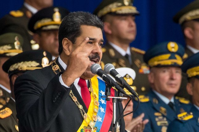 Venezuelan President Nicolas Maduro speaks to soldiers in Caracas, Venezuela, on August 4. His speech was cut short by an assassination attempt involving an exploding drone, officials said. Photo by Miguel Gutiérrez/EPA-EFE