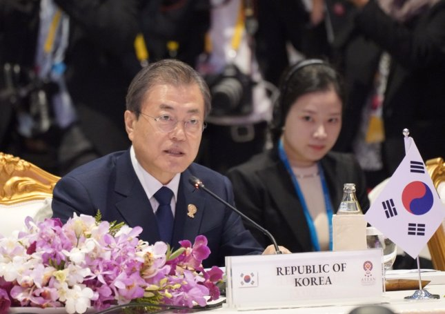 South Korean President Moon Jae-in formally asked for ASEAN's continued support of its North Korean peace process on Monday while in Bangkok, Thailand, for a summit. Photo by Yonhap