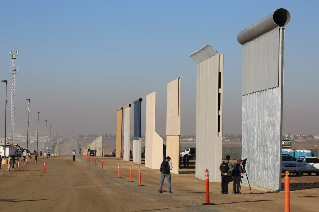 A border wall construction site near the Otay Mesa Port of Entry in Texas shows eight different prototypes of a security barrier ordered by President Donald Trump. File Photo by Yesica Uvina/U.S. Customs and Border Protection