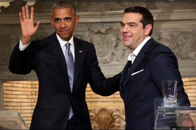 U.S. President Barack Obama (L) and Greek Prime Minister Alexis Tsipras (R) at a press conference at the presidential mansion after a meeting in Athens, Greece, on Tuesday. I thought it was very appropriate for us to visit a great country that is the birthplace of democracy, the source of so many of the ideals and values that helped to build America, and an outstanding friend and ally, Obama said. Photo by Orestis Panagiotou/European Press Agency