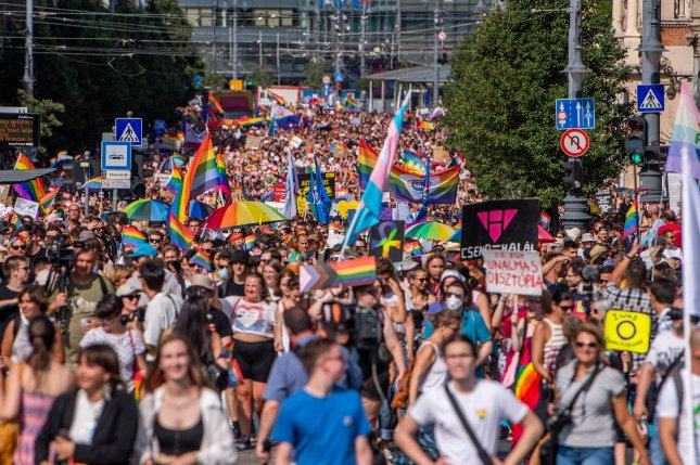 An estimated 30,000 people took to the streets of Budapest, Hungary, on Saturday, July 24, 2021, to celebrate Pride and protest against the Hungarian government's new anti-LGBTQ law. Photo byZoltan Balough/HUNGARY OUT/EPA-EFE