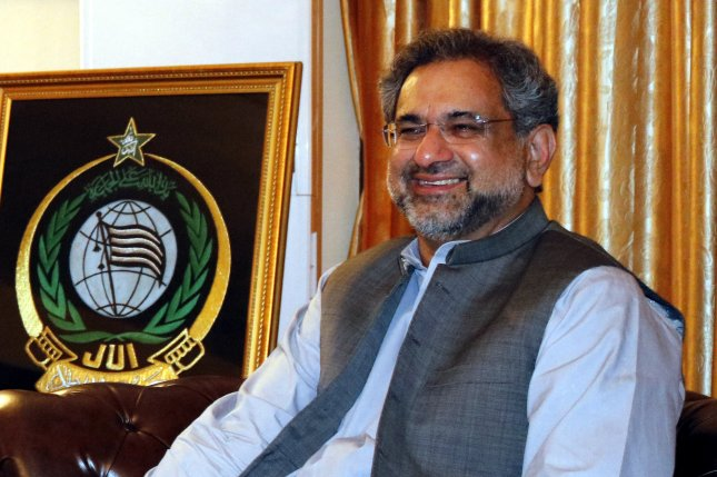Shahid Khaqan Abbasi, a former petroleum minister, has been nominated by the ruling Pakistan Muslim League-Nawaz party to serve as interim prime minister until the ousted Nawaz Sharif is formally replaced by his younger brother, Shahbaz. File Photo by Stringer/EPA