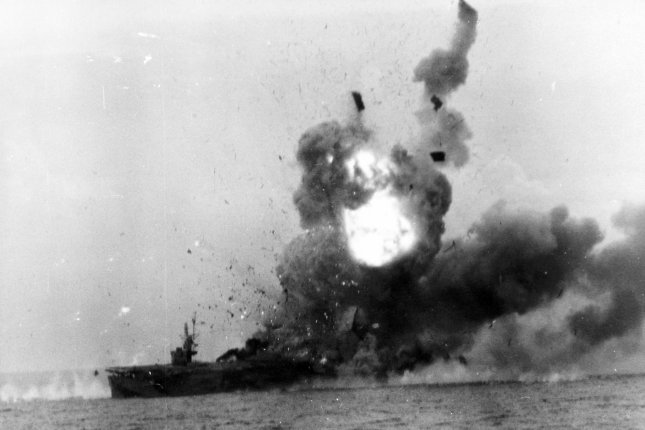 Explosion aboard the USS St. Louis after she was hit be a Kamikaze off the coast of Samar Island, Philippines, on October 25, 1944. File Photo by US Navy/UPI