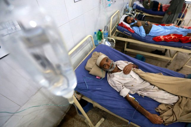 A tuberculosis patient receives medical treatment at a hospital in Peshawar, Pakistan, on March 24, 2019. File Photo by Bilawal Arbab/EPA-EFE