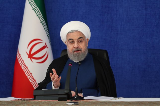 Iranian president Hassan Rouhani is shown speaking during a cabinet meeting in Tehran on September 20, 2020. File photo by EPA-EFE