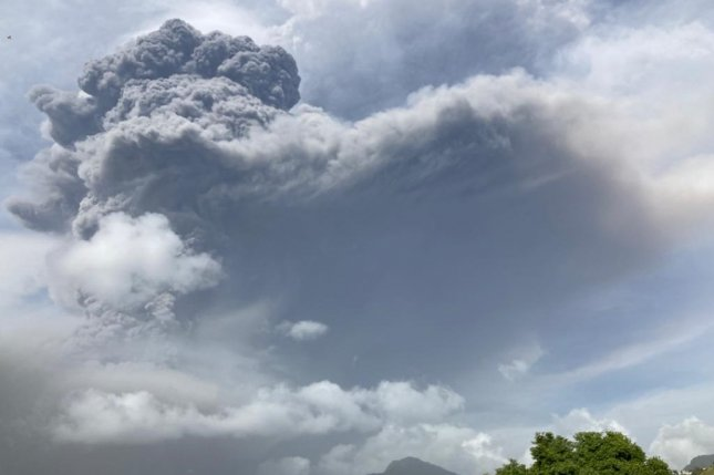Smoke and ash are seen as they are released from the La Soufriere volcano in Saint Vincent and the Grenadines after the initial eruption last Friday. Photo by UWI Seismic Research/EPA-EFE