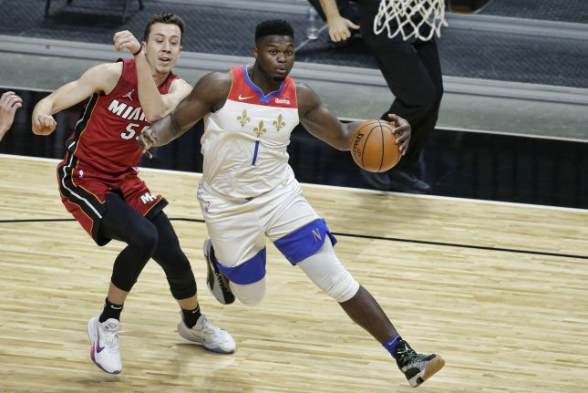 New Orleans Pelicans forward Zion Williamson (R) will miss Wednesday's game against the Los Angeles Clippers due to the NBA's health and safety protocol. File Photo by Rhonda Wise/EPA-EFE