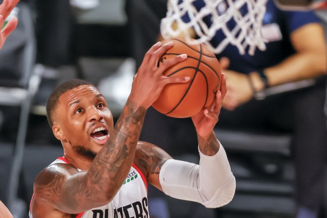 Portland Trail Blazers guard Damian Lillard scored 20 of his game-high 50 points in the fourth quarter of a victory over the New Orleans Pelicans on Tuesday in Portland, Ore. Photo by Erik Lesser/EPA-EFE
