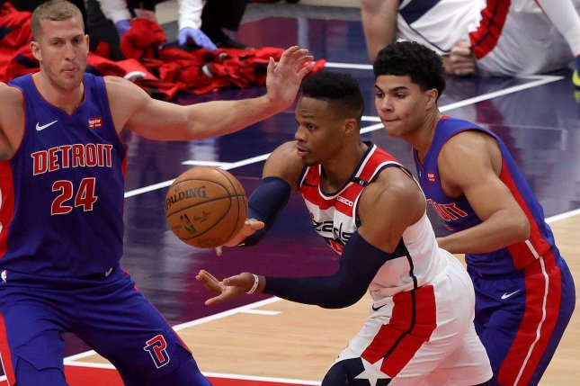 Detroit Pistons rookie guard Killian Hayes (R) has averaged 4.6 points and 3.6 assists in seven starts this season. File Photo by Rob Carr/EPA-EFE