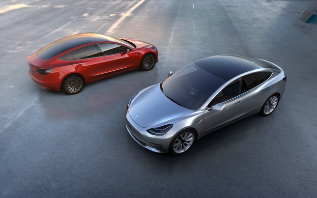 The all-electric Tesla Model 3, unveiled in 2016, has paused production twice this year. File Photo courtesy of Tesla/EPA
