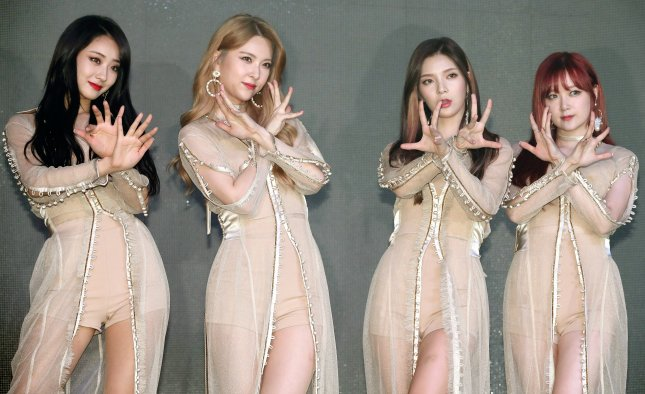 Nine Muses members Kyungri, Hyemi, Sojin and Keumjo (L-R) promote their EP Muses Diary Part 2: Identity in Seoul, South Korea, on Monday. Photo by Yonhap News Agency/EPA