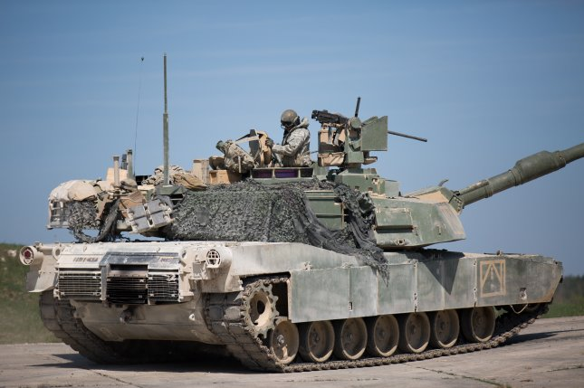 Italian defense company Leonardo was chosen by the U.S. Army to provide active protection systems for its Abrams tanks, the company announced on Tuesday. Photo by by Specialist Genesis Gomez/U.S. Army/UPI