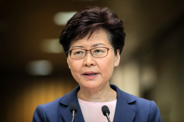 Hong Kong Chief Executive Carrie Lam on Wednesday praised a widely criticized national security law for bringing stability to the city. Photo by Vivek Prakash/EPA-EFE
