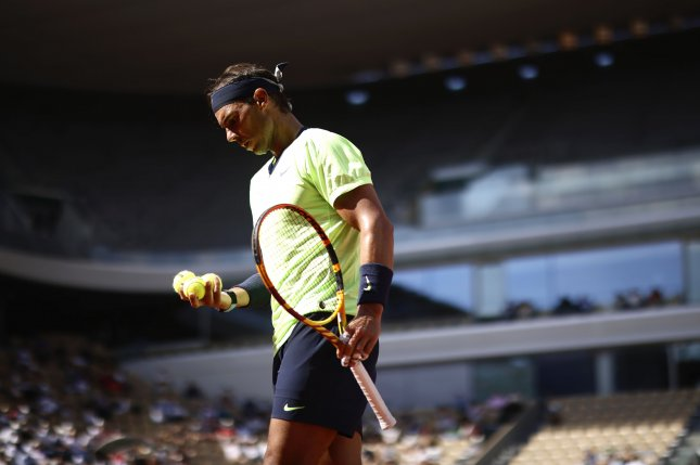 Rafael Nadal of Spain is seen during his quarterfinal match against Diego Schwartzman of Argentina on June 9 at the French Open in Paris, France. Photo by Yoan Valat/EPA-EFE