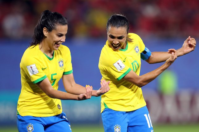 Brazilian striker Marta (R) is not active on Twitter, but has been the most mentioned player on the social media platform during the 2019 FIFA Women's World Cup. Photo by Tolga Bozoglu/EPA-EFE