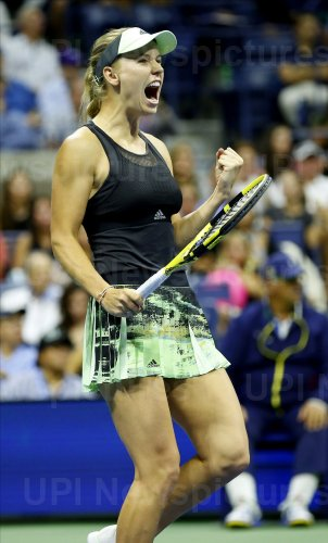 Caroline Wozniacki reacts at the US Open