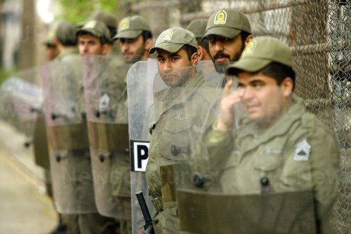 Iran's hardline Islamist Basij demonstrates against Dutch at Netherlands Embassy in Tehran