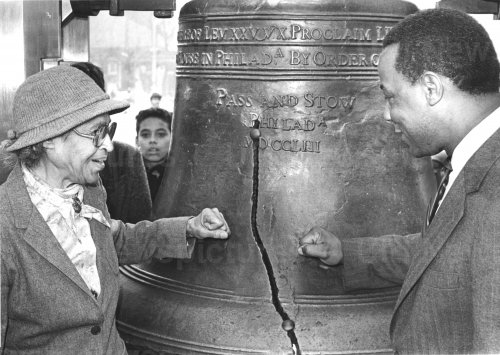 Rosa Parks strikes Liberty bell in Philadelphia on MLK Day
