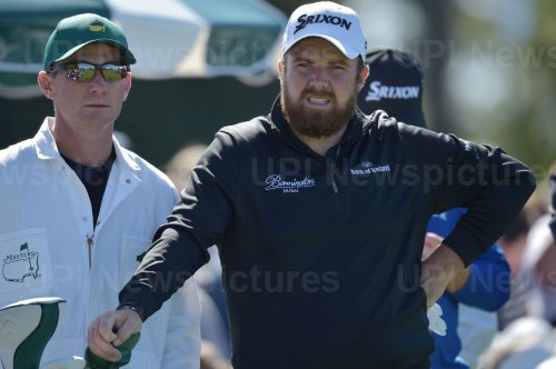 Shane Lowry waits to tee off at the Masters