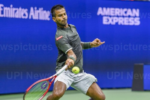 Sumit Nagal hits a forehand at the US Open