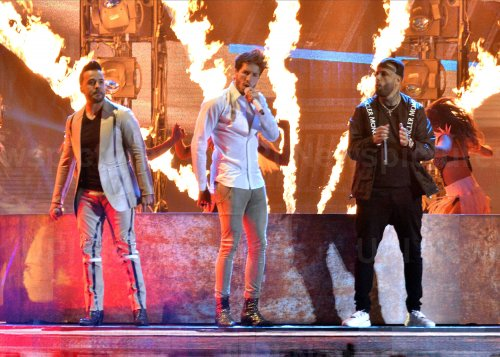 Sebastian Yatra, Luis Fonsi and Nicky Jam perform at the Billboard Latin Music Awards in Las Vegas