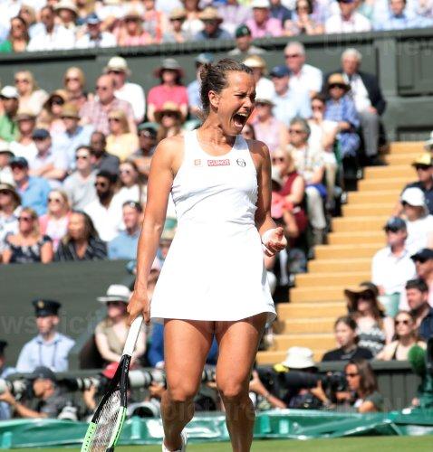 Barbora Strycova screams in her Semi-Final match against Serena Williams
