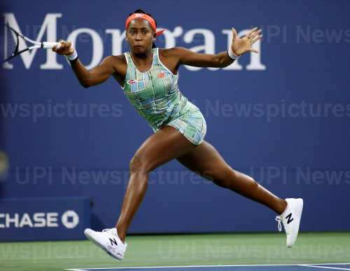 Coco Gauff returns the ball at the US Open