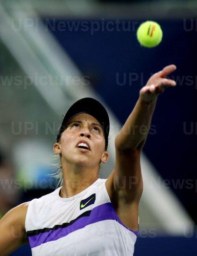 Madison Keys serves at the US Open