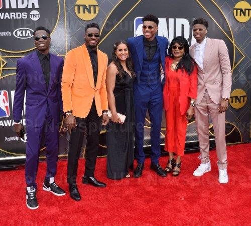 Giannis Antetokounmpo and family attend the 2019 NBA Awards in Santa, Monica, California