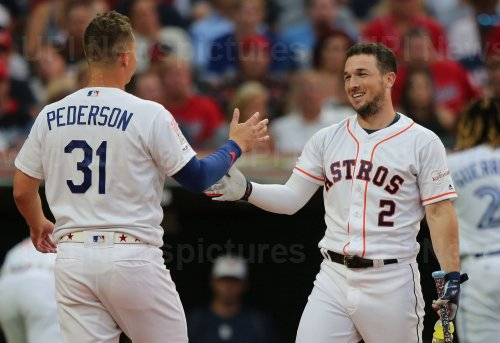 Astros' Alex Bregman and Dodgers' Joc Pederson during the MLB All-Star Home Run Derby in Cleveland, Ohio