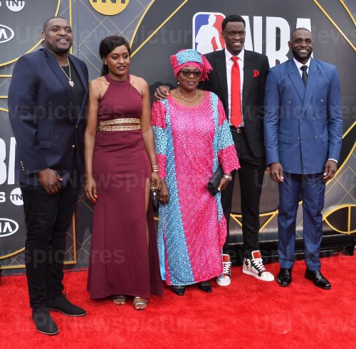 Pascal Siakam and family attend the 2019 NBA Awards in Santa, Monica, California