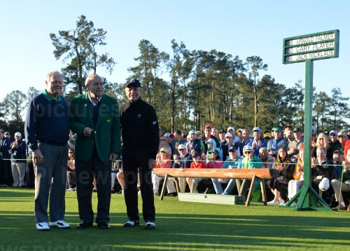 Honorary starters Jack Nicklaus, Ar­nold Pal­mer and Gary Player